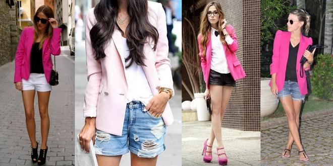 Pink blazer com shorts branco, jeans ou preto cai bem