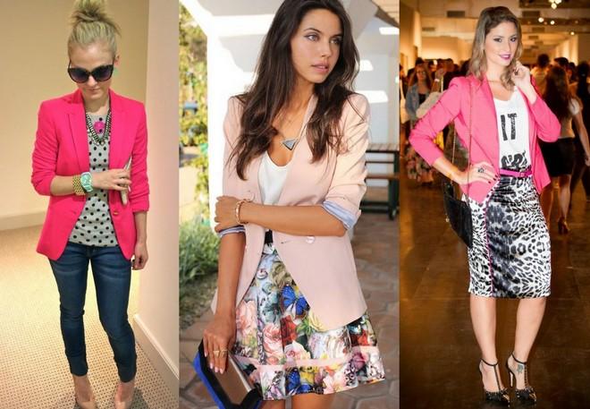 Pink blazer com blusa de poa, ou com saia estampada de flores, ou com saia lápis animal print para você escolher qual a melhor combinação