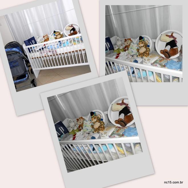 O quartinho de Felipe Filho começa a ganhar vida com berço, nichos e pelúcias, carrinho de bebê e muitas roupinhas