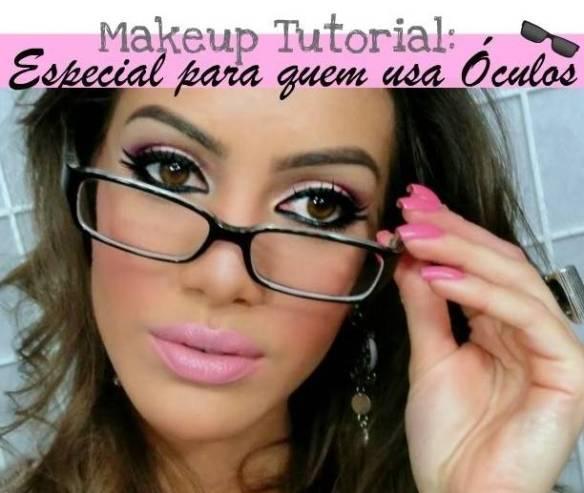 Camila Coelho com suas sobrancelhas bem feitas e maquiagem colorida, com delineado em cima e em baixo, em um tutorial para quem usa óculos