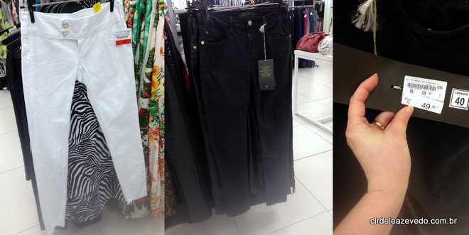 Calça branca e calça preta nas araras da C&A