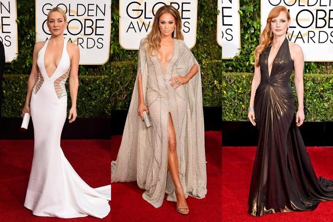 Kate Hudsonn, com um branco longo e decote em v da Versace; Jennifer Lopez em um kaftan Zuhair Murad; e Jessica Chastain em um marrom Atelier Versace.