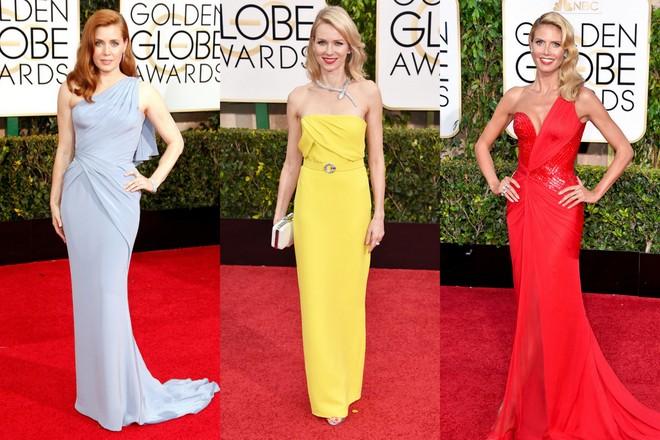Amy Adams de Versace lavanda longo; Naomi Watts em um longo tomara que caia amarelo da Gucci e Heidi Klum, também de Versace, mas vermelho e de um ombro só