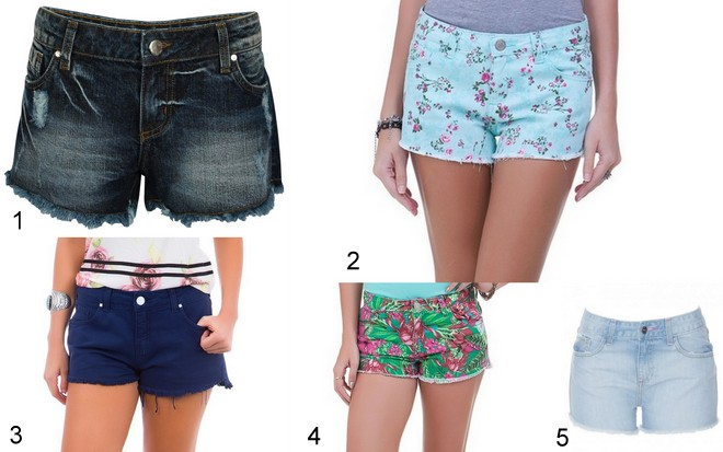 1- shorts jeans escuro por 69,90 na Riachuelo 2- shorts azul com estampa por 39,90 na Renner 3 -shorts azul de sarja por 69,90 na C&A 4- shorts estampado por 39,90 na Renner  5- shortinho jeans claro por 64,90 na Amaro