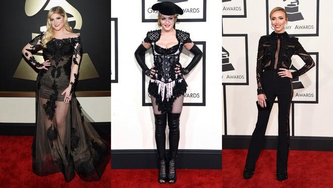 Meghan Trainor de longo preto com transparência nas pernas e mangas. Madonna com mini macacão e botas de cano altíssimo, além de chapéu de toureiro. Giuliana Rancic de macacão preto com transparência nas laterais