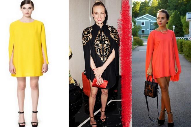 vestido capa amarelo com sandália preta; vestido capa preto usado com bolsa vermelha e sandália preta; vestido capa laranja