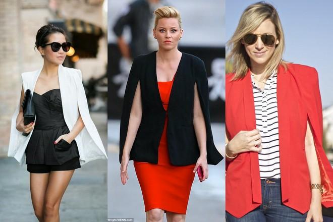 blazer capa branco com macaquinho preto; blazer capa preto com vestido vermelho e blazer vermelho com calça jeans e camisa listrada