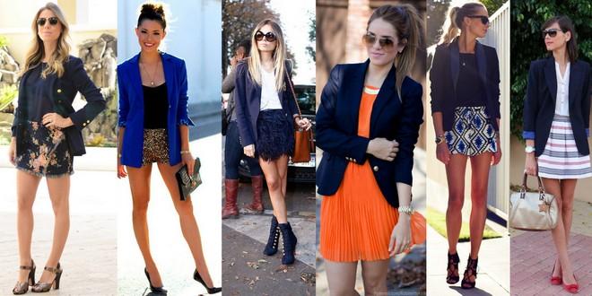 blazer azul com saia, shorts ou vestido