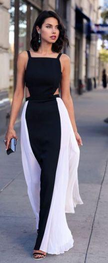 vestido de gala preto e branco