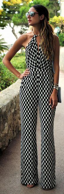 jumpsuit preto e branco
