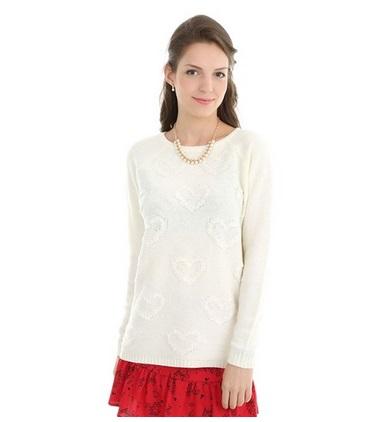 suéter de tricot feminino na cor off white