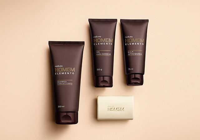 conjunto com shampoo + gel para barbear + balm pós barba + sabonete