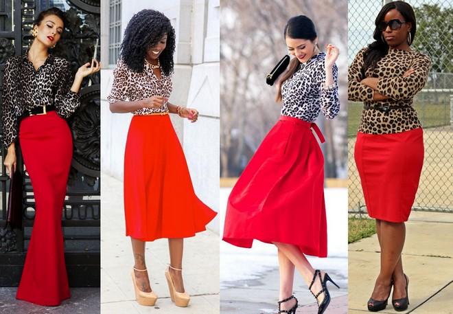 Camisa com estampa animal combinada com saia longa vermelha. Blusa com animal print e saia midi vermelha. Blusa de manga comprida com animal print combinada com saia lápis vermelha.
