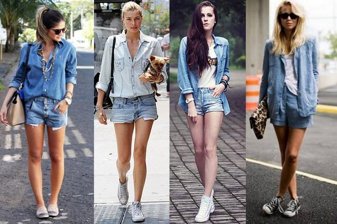 Combinações de camisa com shorts jeans