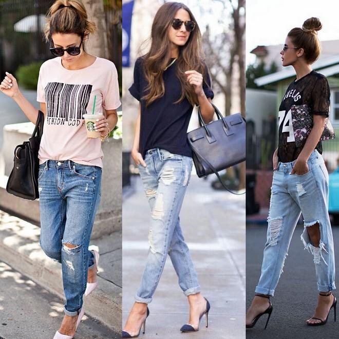 Calça jeans destroyed com t-shirt