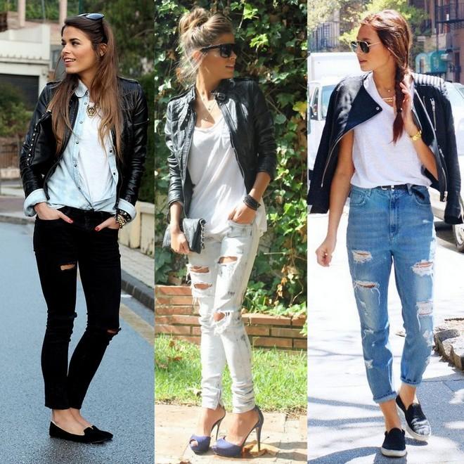 calça jeans destroyed com jaqueta preta