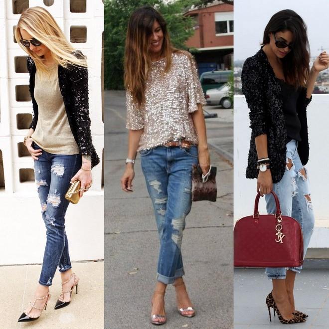 calça jeans destroyed combinada com blusa brilhosa