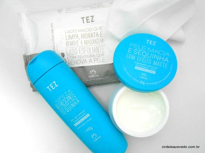 produtos da linha Tez da Natura com gel de limpeza e hidratante para pele mista a oleosa e lencinho 5 em 1 para todos os tipos de pele