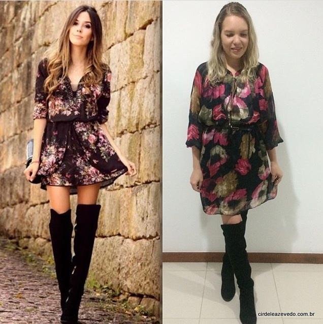 Eu usando vestido floral com fundo escuro, mais botas over the knee (otk) da H&M.