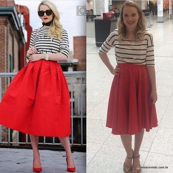 Eu usando saia midi vermelha da Pranaitis Store e blusa listrada da C&A. Nos pés, minha boa e velha sandália da Arezzo.