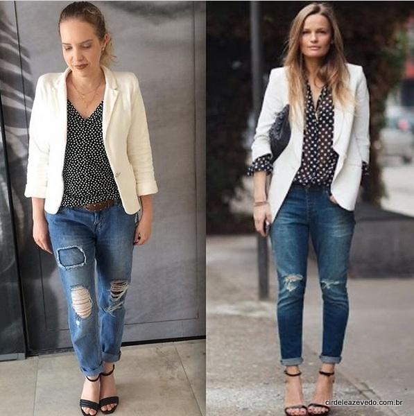 Eu usando blazer off-white da Anis Ateliê, mais blusa de poá da C&A e a mesma calça da terça. Além da sandália de tiras da Arezzo