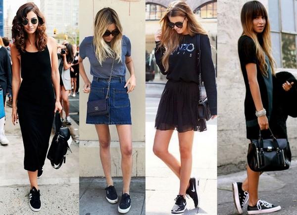 Produções de saias com tênis preto