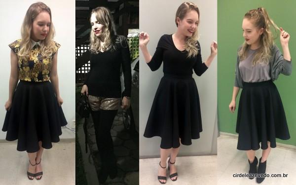 Look 1 - saia midi preta com blusa estampada; Look 2 - shorts com brilho, legging preta e malha preta; Look 3 - malha preta com saia midi também preta; e look 4 - regata cinza, casaco cinza e saia midi preta