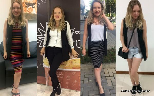 Look 1 - vestido listrado com colete preto; Look 2 - camisa branca, calça preta e colete preto; Loo3 - Saia listrada preto e brancom, com camiseta branca e o colete preto; Look 4- shorts jeans, camiseta cinza e colete preto