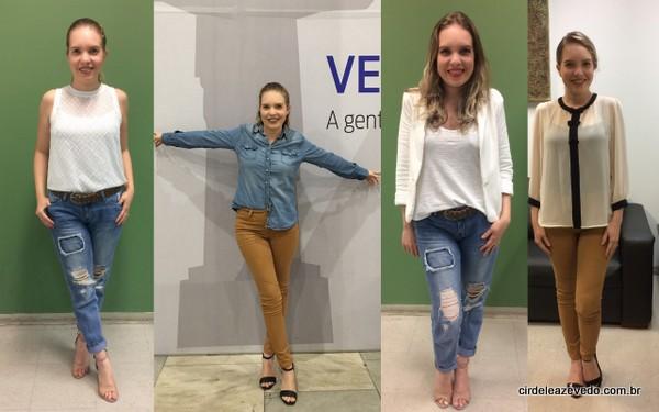 CAlça jeans com blusa branca; calça marrom com camisa jeans; calça jeans com camiseta branca e blazer off white; calça marrom com camisa bege com detalhes de lacinhos preto na frente