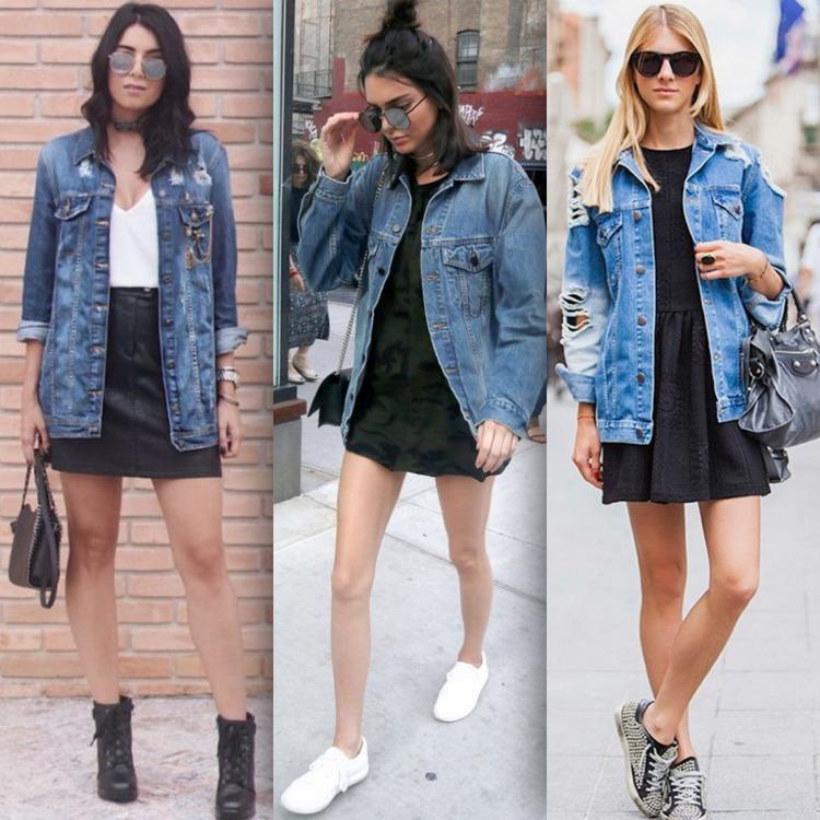 Jaqueta jeans com saia e com vestido