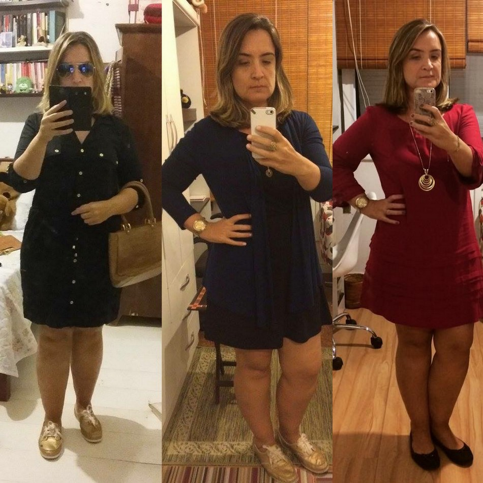 Sabrina usa vestido curto com mangas nas cores preto, azul e vermelho