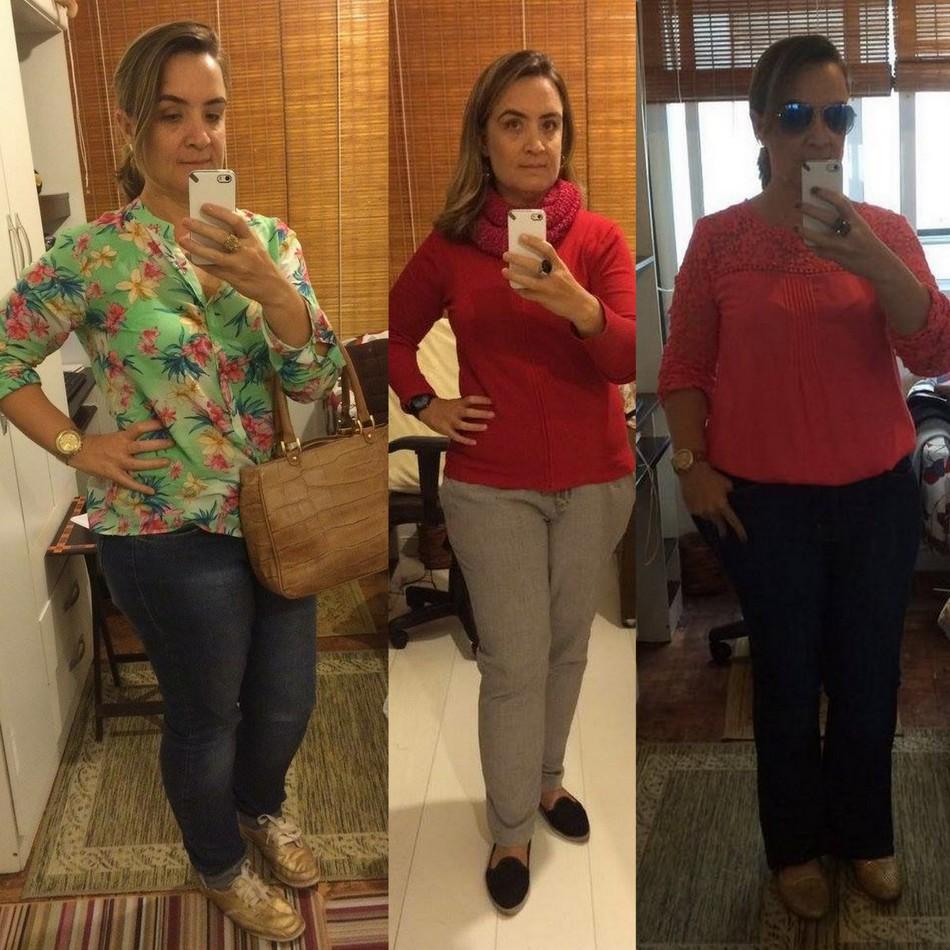 Sabrina usa calça jeans com camisa verde florida, calça cinza com malha vermelha, calça preta com blusa laranja