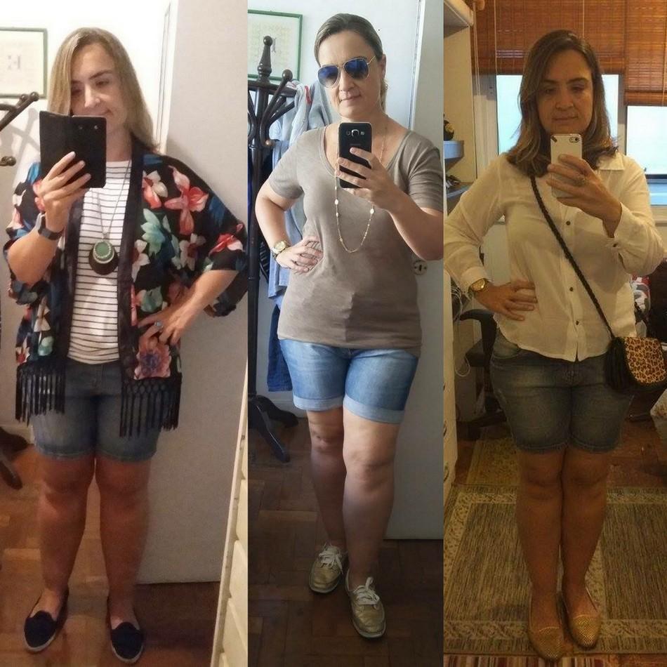 Sabrina usa shorts jeans com blusa branca e kimono colorido, shortinho com blusa bege e shortinho jeans com camisa branca