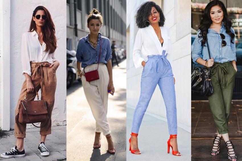 Eu usando calça clochard rosa com blusa vermelha, calça clochard azul com camisa jeans, calça clochard rosa com blusa branca e calça clochard azul com camisa branca