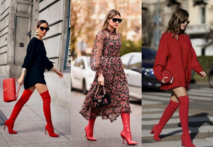 Bota vermelha combinada com vestidos