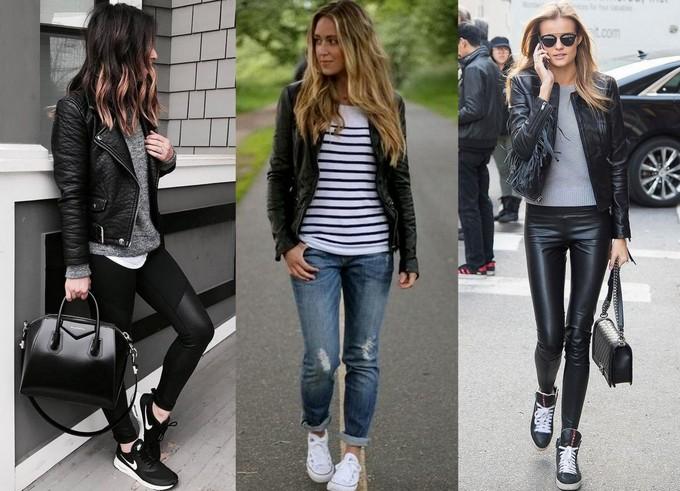 Jaqueta de couro preta com calça preta, calça jeans e blusa listrada e com calça também de couro preta