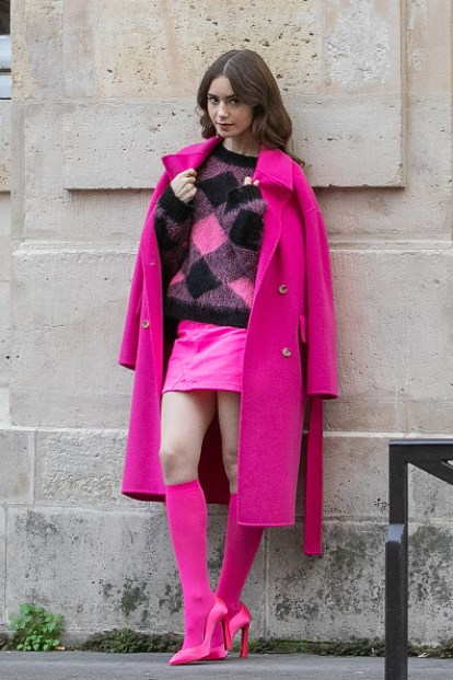 And the pink coat