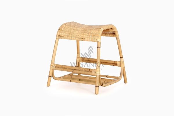 Dongke Vintage Natural Rattan Occasional Stool perspective