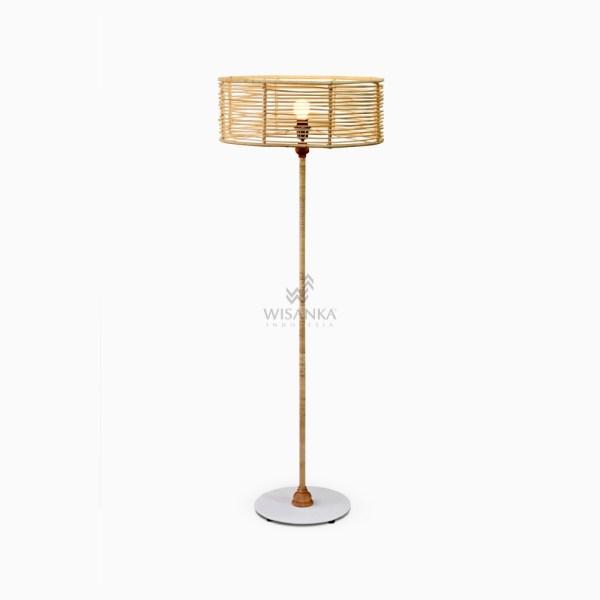 Kasya Floor Lamp - Wicker Shade Standing Lamp