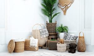 Add storage with a wicker basket