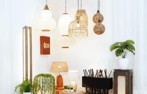 Brighten a room with rattan light fixtures
