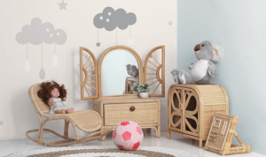 Use rattan furniture in the kids' room