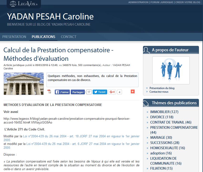Caroline Yadan Pesah sur Legavox - Calcul de la prestation compensatoire