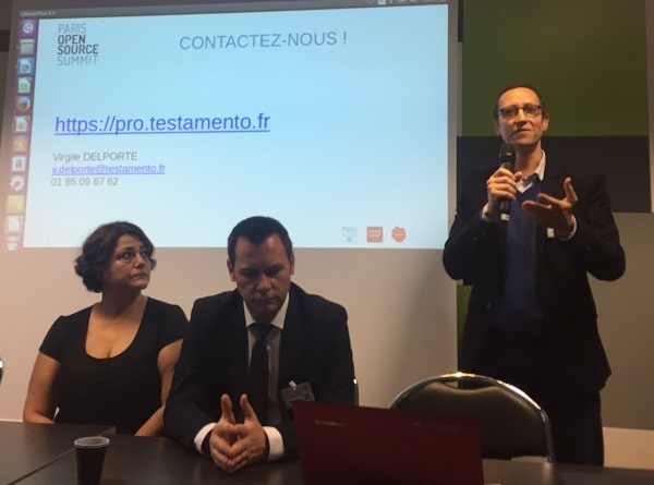 Testamento pitch au Village LegalTech, Paris Open Source Summit, 16 novembre 2016 - Photo Laura Ciriani Communication.