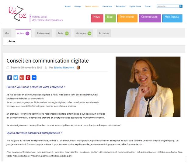 Portrait d'entrepreneure Rézoé : Laura Ciriani Communication