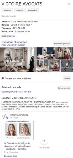 Victoire Avocats sur Google