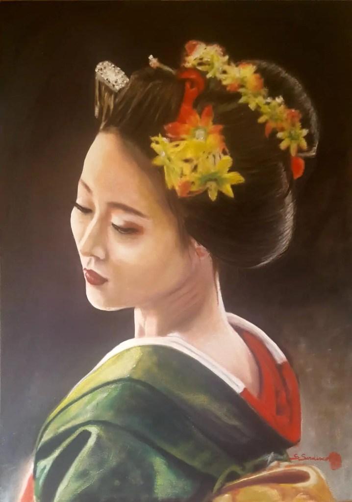 Geisha, olio su tela, 50x70 di Salvatore Sardisco