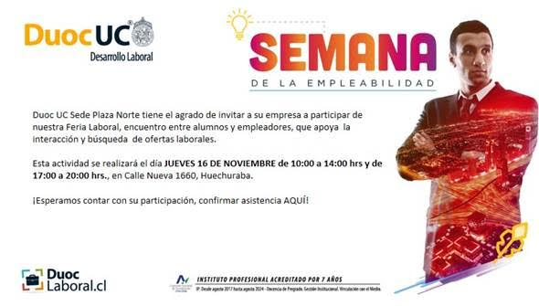 """Feria Laboral""de DUOC UC estará abierta para que participen empresas socias de CIRPAN A.G"