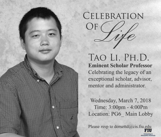 A flyer of Celebration of Life of Dr. Tao Li