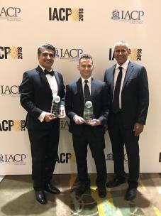 Photo of Dr. Masoud Sadjadi receiving the IACP Award